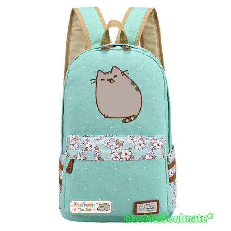 Pusheen Cat Canvas Bag Unicorn Flower Students Laptop RucksacksBackpack for Teenagers Girls Women School Bags Children BackpacksTravel Shoulder Bag