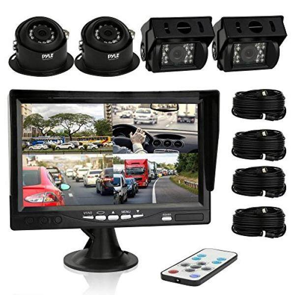 Pyle Car Rear View Camera and Video Monitor, IP68 Waterproof, Commerical Grade, 4 Cameras, Night Vi