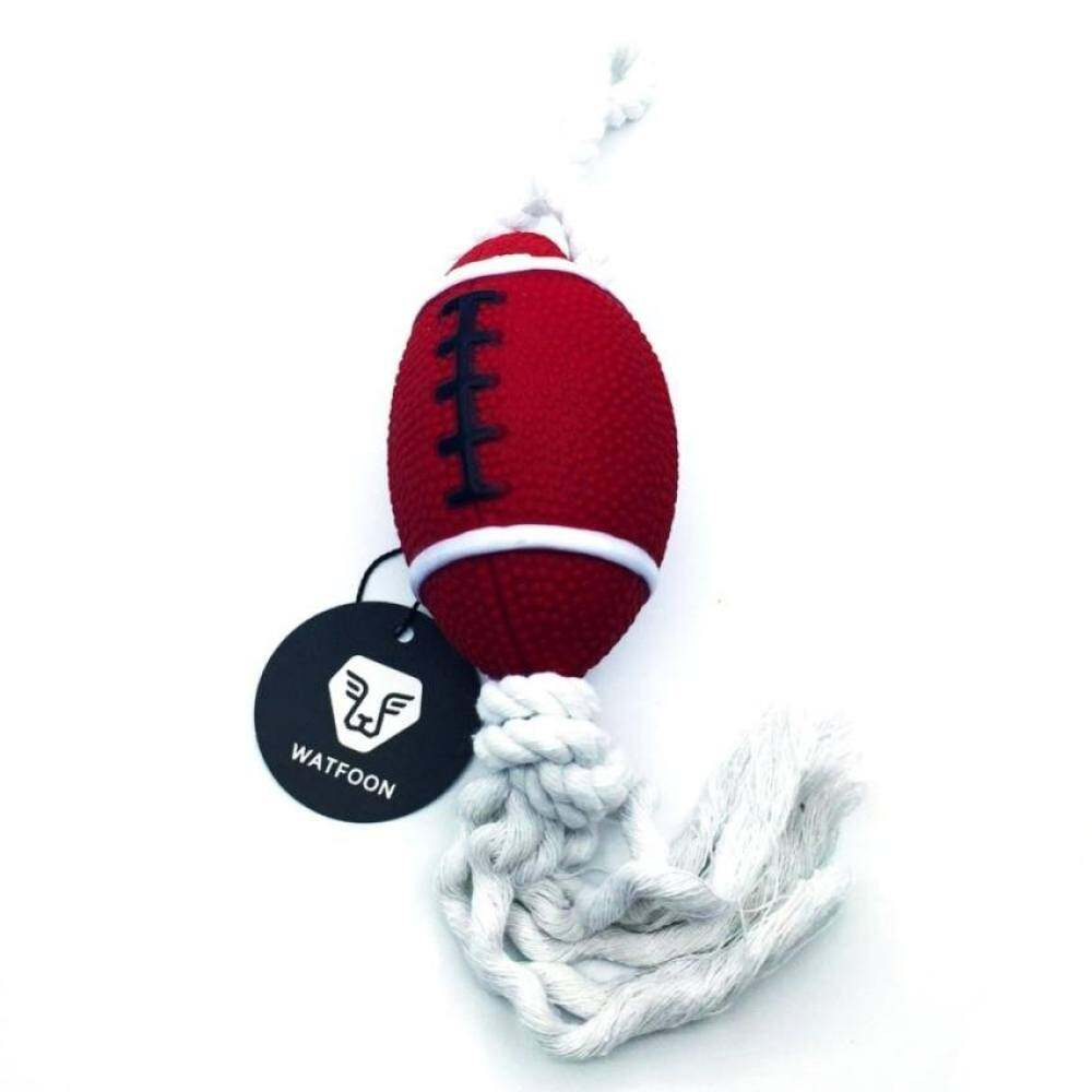 QJQ XKP Watfoon Soft Squeaky Puppy Toy With Cotton Rope For Dogs (Rugby)
