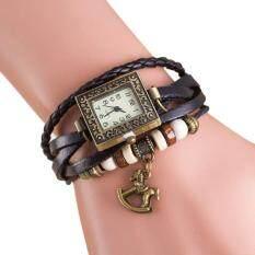 Quartz Weave Around Leather Trojans Bracelet Lady Woman Wrist Watch Malaysia