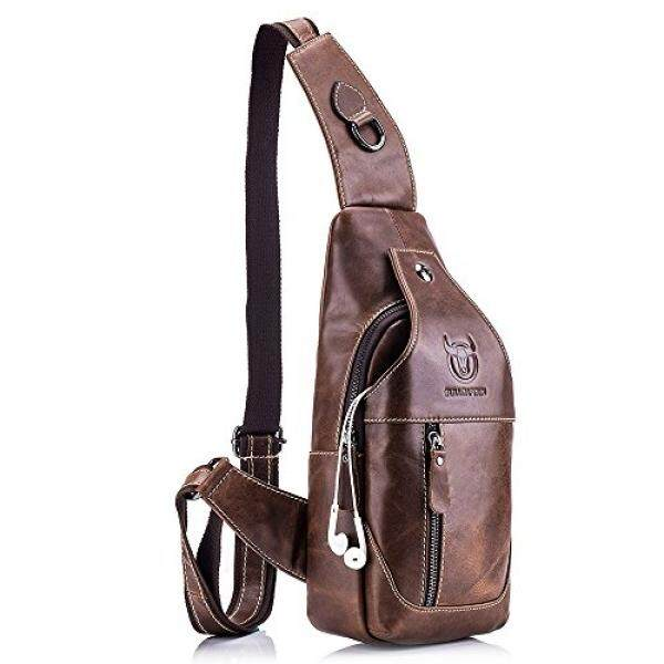 QUORA Men Genuine Leather Business Casual Brown Black Shoulder Crossbody Bag - intl