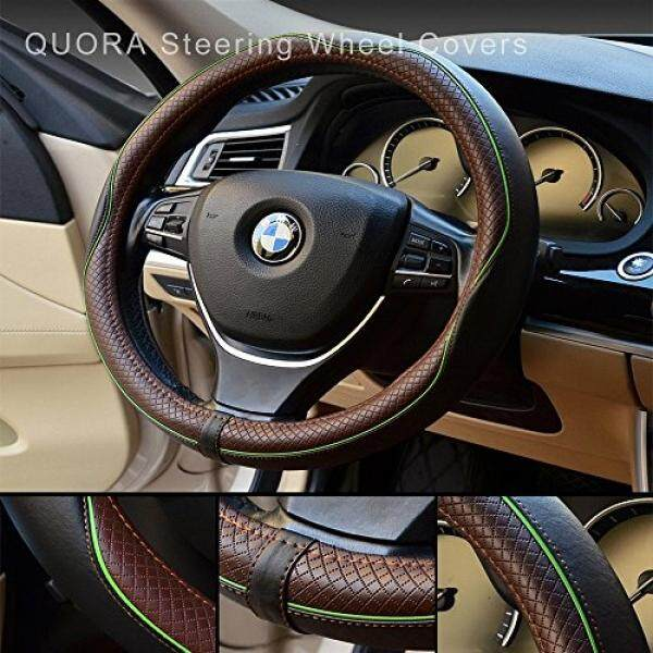 QUORA QUORA Steering Wheel Covers 1.25 Ft -Hand Sewing Genuine Leather Steering Wheel Cover As a Gift for Business (Green line) - intl