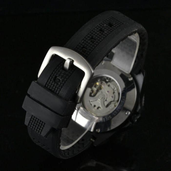 Jaxuzha Pemenang Baru Tentara Militer Karet Arloji Steampunk Tali Karet Hitam Pria Otomatis Kerangka Mekanikal Watch