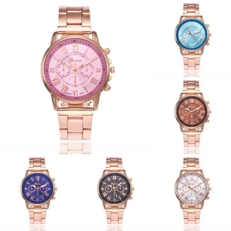 Rainbow Site  New Popular Quartz Business Men Women Wrist Watch Luxury Waterproof Stainless Steel Band Watches -Rose- Malaysia