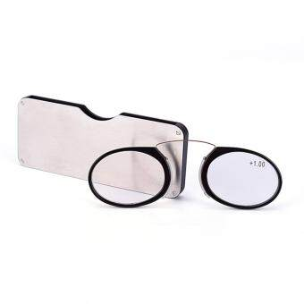 Reading Eye Glasses Nose Clip Mini Case Portable Presbyopic Pocket Mini Eyewear Black 150:9.5cm*4cm*0.3cm