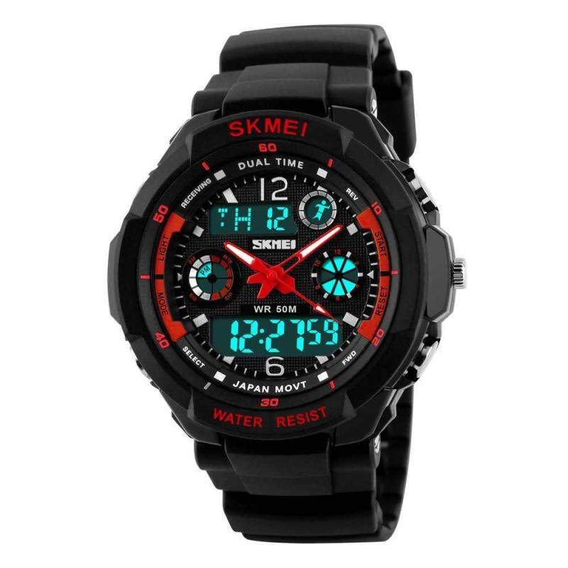 red Digital Watch Double Time Dual Display Adult Watch red Wrist Digital Adult Sport Watch Dual Display SKMEI Anti-shock Double Time Watches Anti-shock Watch Malaysia