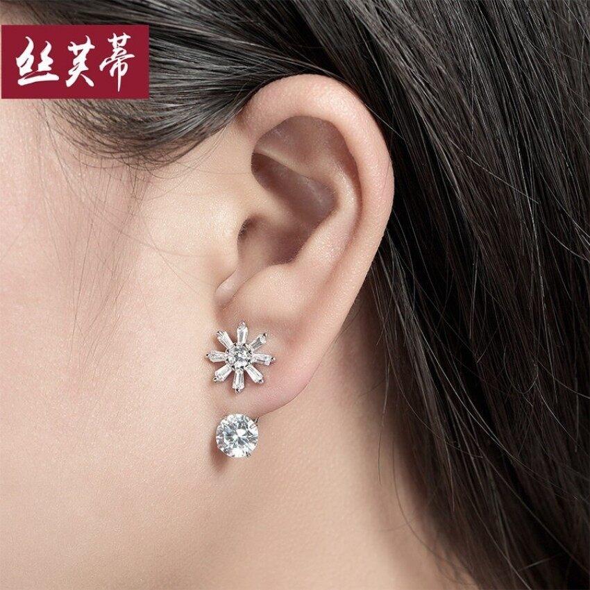 Tiga Dilepas 925 Perak Anting Pada Wanita Temperamen Korea Selatan Manis Giwang Telinga
