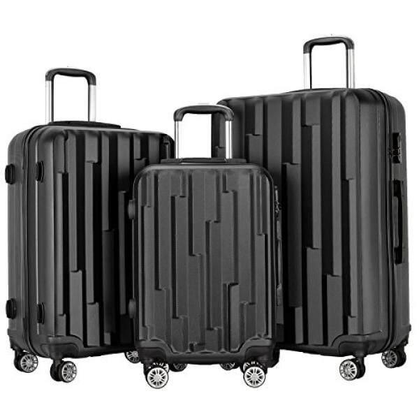 87cb63547 Resena 3 Piece Luggage Set Hard Shell Spinner Wheel Suitcase (Black)