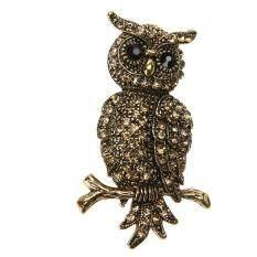 Retro Cute Diamond-Bordered Delicate Brooch Alloy Owl By Unique Amanda.