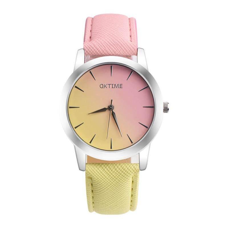 Retro Rainbow Design Leather Band Analog Alloy Quartz Wrist Watch Malaysia