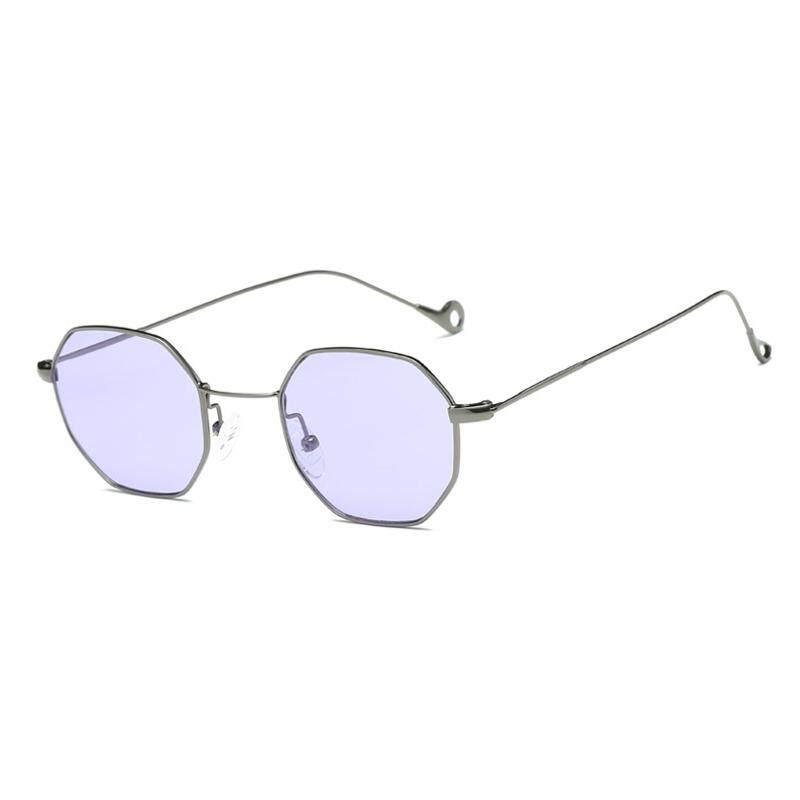Retro Kecil Square Oktagonal Sunglasses Laki-laki dan Perempuan Ocean Irisan Transparan Sunglasses-Gun