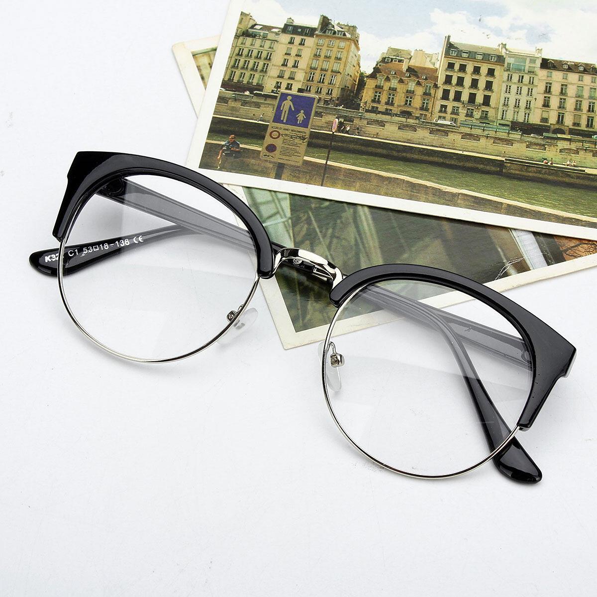 PLS Retro Style Women Men Nerd Glasses Clear Lens Eyewear Round Metal Frame  Glasses 9be48fefaaa1