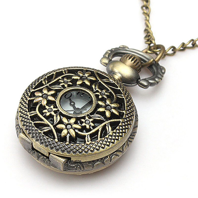 Retro Vintage Bronze Steampunk Quartz Necklace Pendant Chain Pocket Watch Mode4 Malaysia