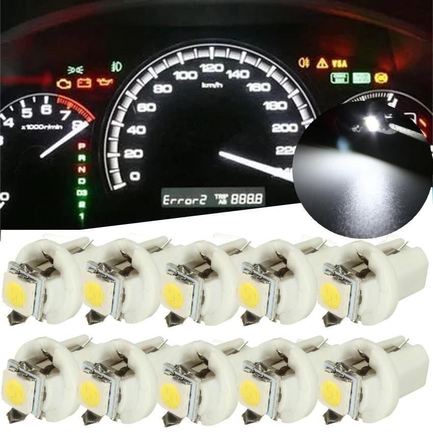 RHS 10PCS T5 B8.5D Car Gauge 5050 1SMD LED Speedo Dashboard Dash Side Light Bulb 12V(White)