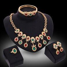 Rich Long Kristal Sepuh Emas Kalung Berlian Imitasi & Anting Gelang Cincin Seperangkat Perhiasan