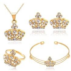 Rich Long Gold Plated Crystal Necklace & Earrings Bracelet & Ring Jewelry Sets For Women's Vintage Wedding Party
