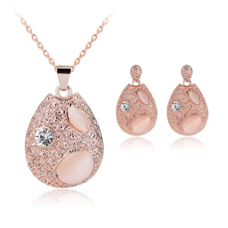Rich Long Gold Plated Crystal Necklace & Earrings Jewelry Sets For Womens Vintage Wedding Party