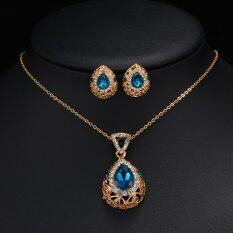 Rich Long Gold Plated Crystal Necklace & Earrings Jewelry Sets Women's Vintage Wedding Party