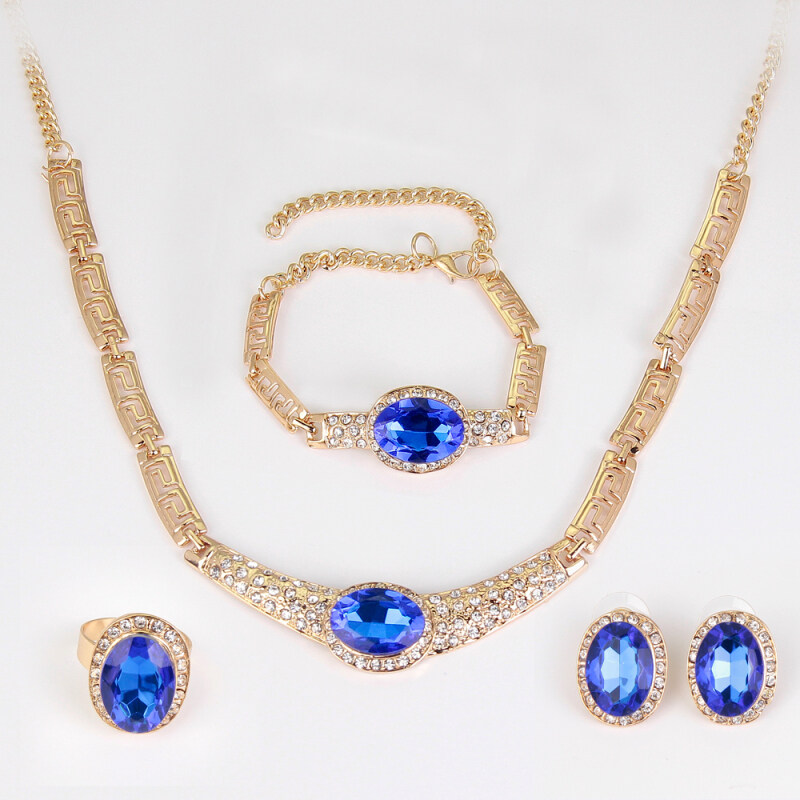 Rich Long Gold Plated  Crystal Rhinestone Necklace & Earrings Bracelet & Ring Jewelry Sets