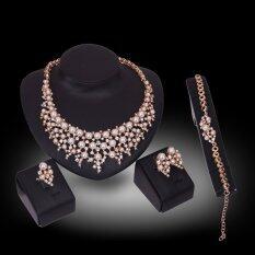 Rich Long Kristal Bersepuh Emas Kalung Berlian Imitasi & Anting-Anting Seperangkat Perhiasan