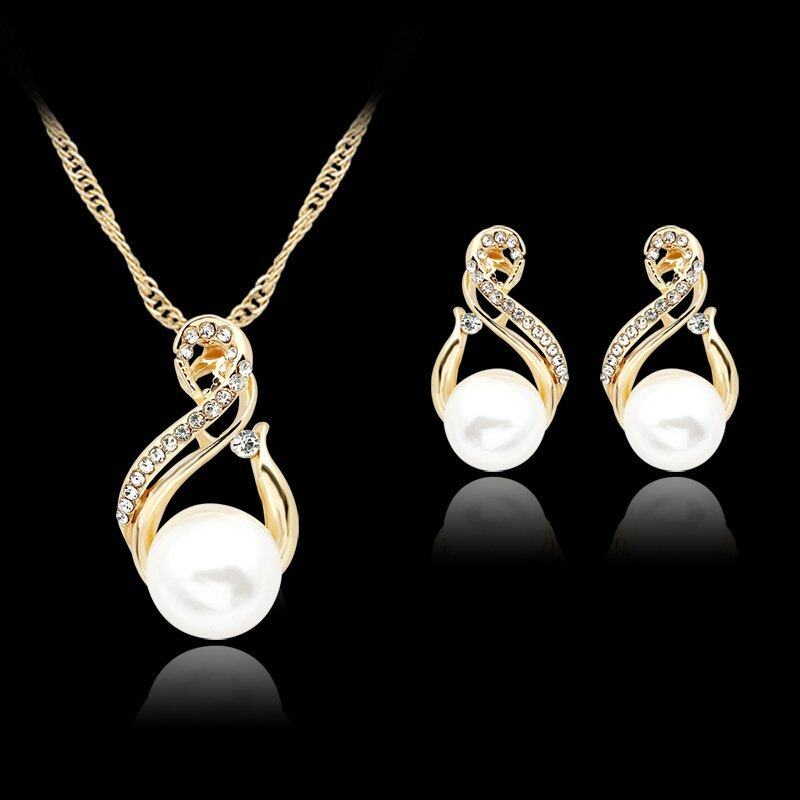 Rich Long Gold Plated Imitation Pearl Necklace & Earrings Jewelry Sets Womens Vintage Wedding Party