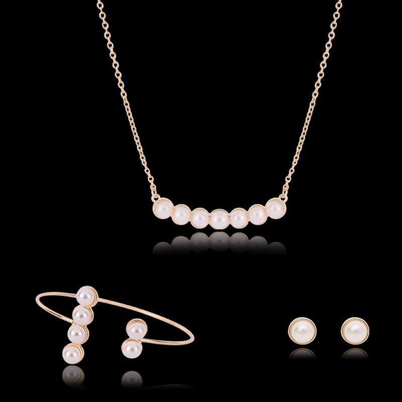 Rich Long Gold Plated  Imitation Pearl Rhinestone Necklace & Earrings & Bracelet Jewelry Sets Womens Vintage Wedding Party
