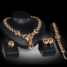 Rich Long Gold Plated  Rhinestone Necklace & Earrings & Bracelet & Ring Jewelry Sets Women