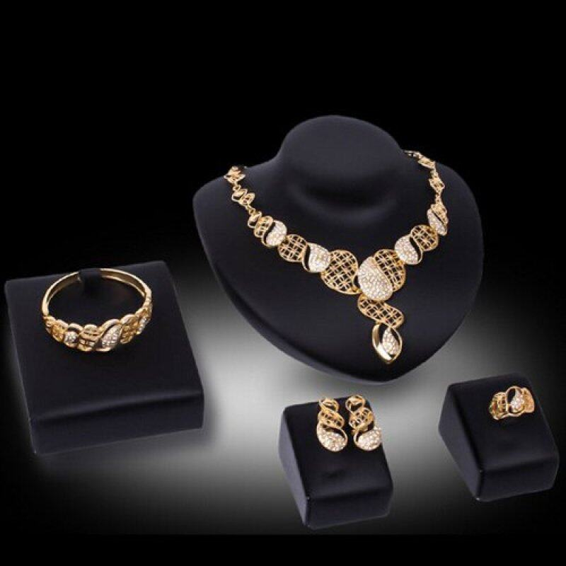 Rich Long Gold Plated Rhinestone Necklace & Earrings Jewelry Sets