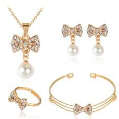 Rich Long Imitation Pearl Necklace & Earrings Bracelet & Ring Jewelry Sets For Women's Vintage Wedding Party