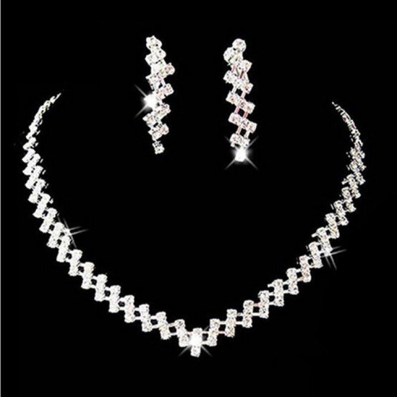 Rich Long Platinum Plated Imitation Pearl Necklace & Earrings Jewelry Sets Womens Vintage Wedding Party