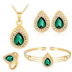 Rich Long Rose Gold Plated Women's Vintage Wedding Party Rhinestone Necklace & Earrings & Bracelet & Ring Jewelry Sets