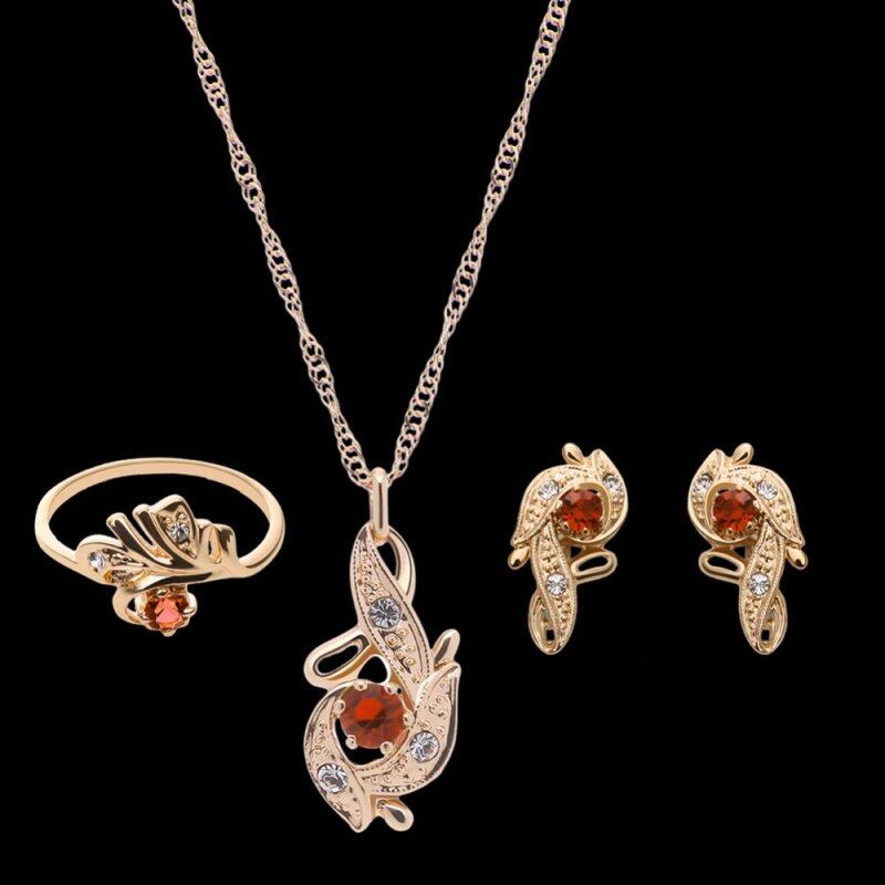 Rich Long Rose Gold Plated Womens Vintage Wedding Party Rhinestone Necklace & Earrings & Ring Jewelry Sets