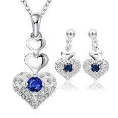 Rich Long Silver Plated Rhinestone Gemstone Crystal Necklace Earrings Jewelry Sets