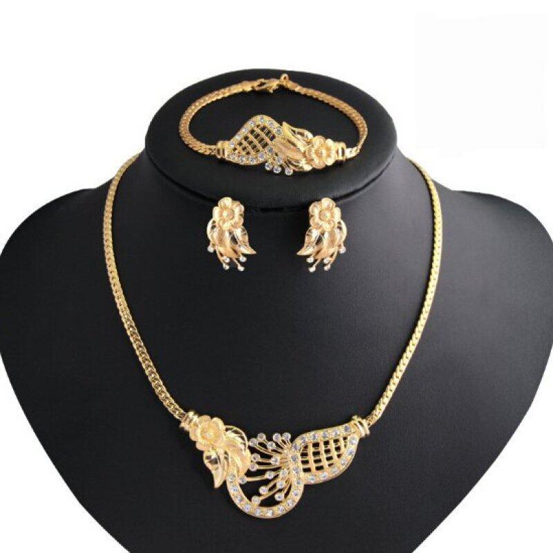Rich Long Women Flower Cut Out Gold Plated Rhinestone Necklace & Earrings & Bracelet & Ring Jewelry Sets