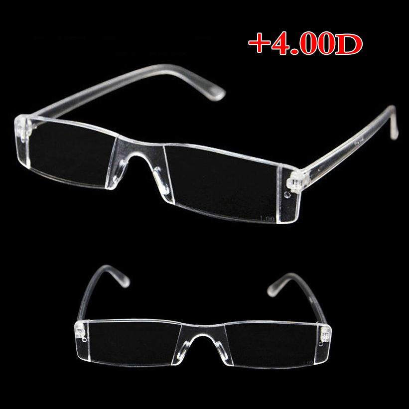6fa6d6d8ba0f Rimless Reading Glasses Case Bag Metal Temple from 1.00 to 4.00 Diopter  Clear (400 degrees