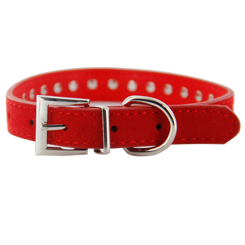 Ris Pet Dog Cat Crystal Rhinestone Cow Suede Neck Collar Size M Red By Qjq Store