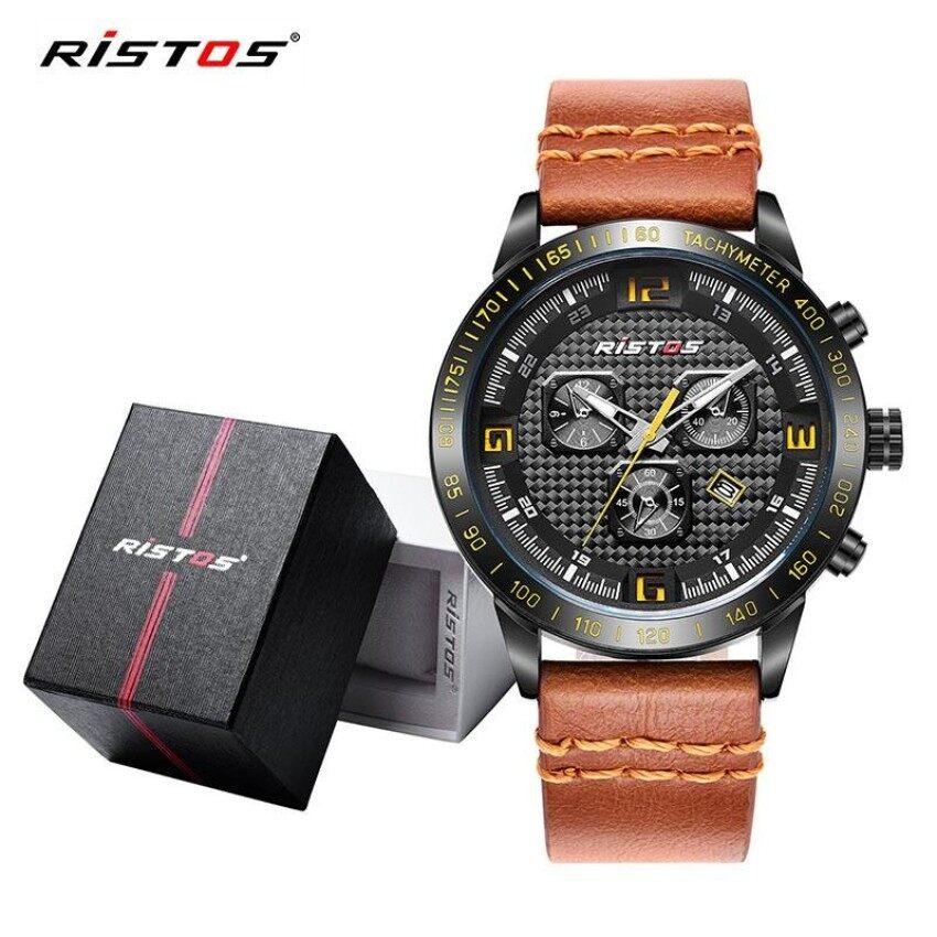 634f1a2f216c RISTOS Men X-Sports Style Watch Genuine Leather Strap Waterproof Analog  Quartz Wristwatch with Calendar
