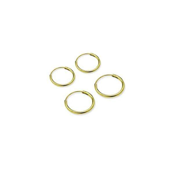 River Island Jewelry - 925 Sterling Silver Flash Yellow Gold Plated (2 Pairs) Endless Earrings for Ears - Sizes 10mm & 12mm - intl