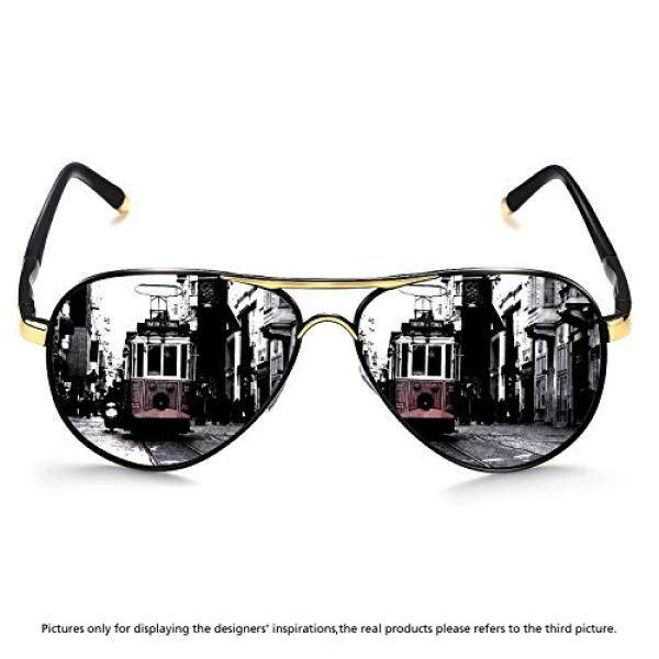 Rocknight Kacamata Mata Penerbang Polarisasi untuk Pria Wanita Bingkai Logam Kacamata Hitam Datar Ultralight Lensa Kaca