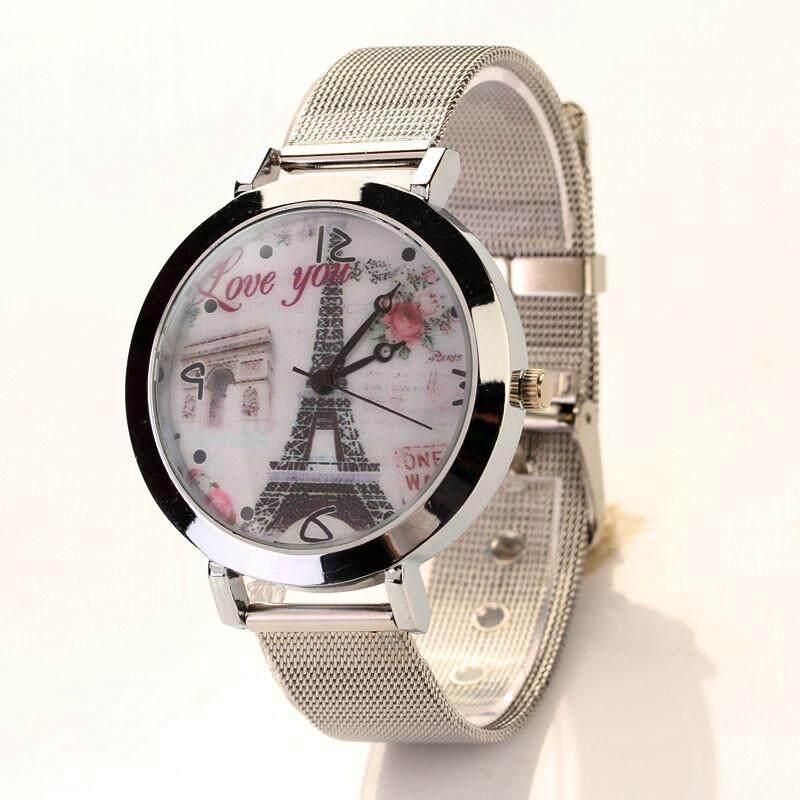 ROJEY Women Lady LOVE Eiffel Tower Round Quartz Analog Bracelet Wrist Watch -Silver Malaysia