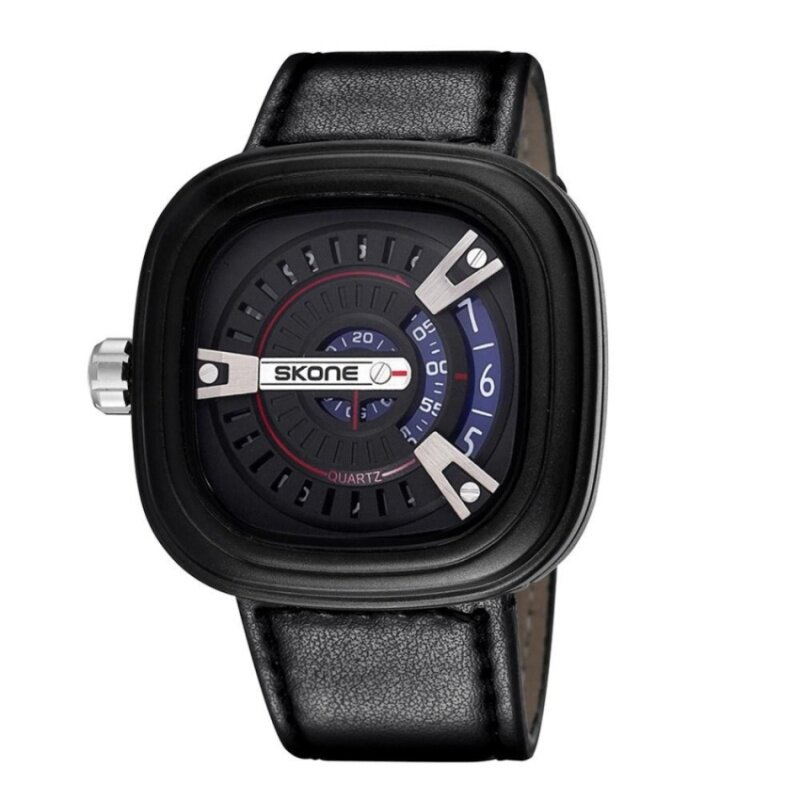 roortour SKONE 2016 Designer Big Face Square Dial Men Watches ShockResistant PU Leather Strap Watch Fashion Casual Wristwatch (blackblue) Malaysia