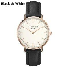 Watch Golden Genuine Leather Quartz Movement Water Resistant 3ATM Watch Women Dress Men Sports Famous Brand Watch black+white Malaysia