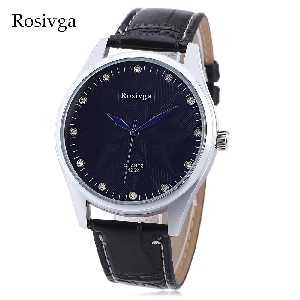 Rosviga 1252 Pria Kuarsa Jam Tangan Buatan Berlian Tombol Penyetel Kulit Tali Arloji-Internasional