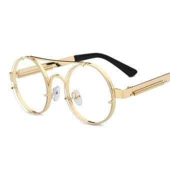 รอบกรอบแว่นตาผู้ชายวินเทจสีทอง 2018 แบนด้านบนย้อนยุครอบโลหะกรอบล้างเลนส์แว่นตาผู้หญิงกรอบ