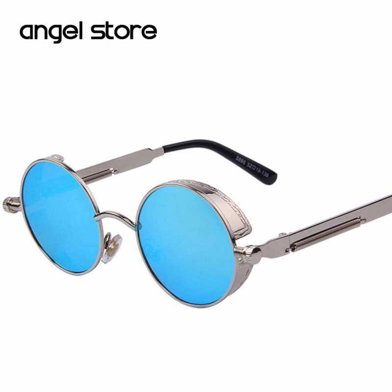 Kmdshxns Bulat Kacamata Hitam Logam Gaya Steampunk untuk Pria dan Wanita Fashion Vintage UV400 Kacamata Retro
