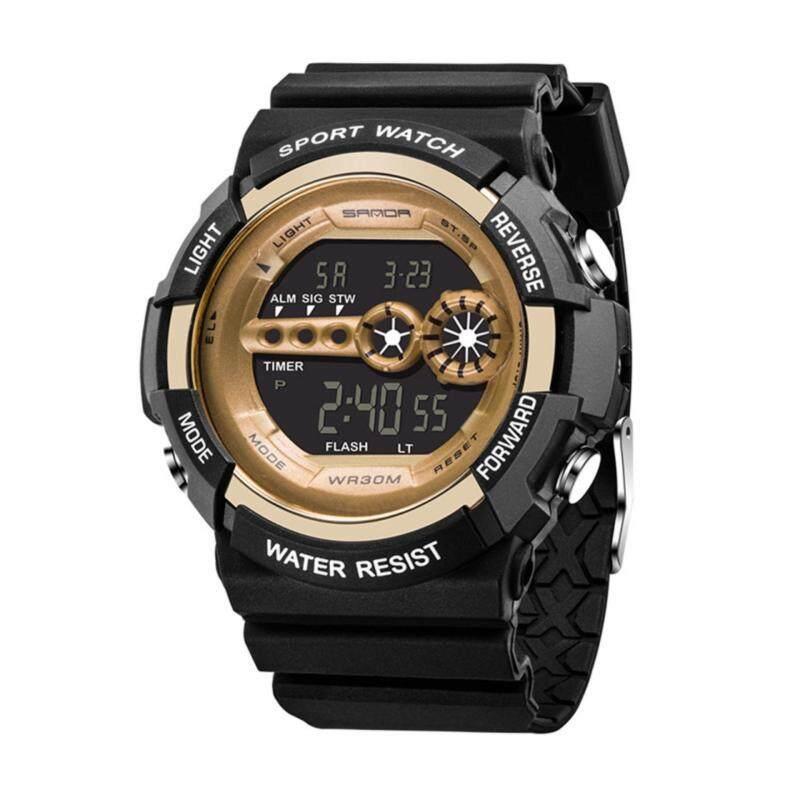 SANDA 320 Mens Stainless Steel LED Waterproof Digital Date Alarm Military Grade Sports Quartz Watch Malaysia