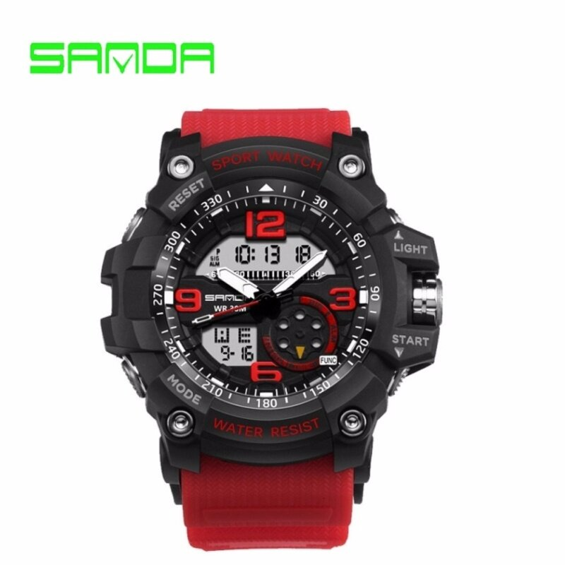 GTE SANDA Brand Watch Shock Original Brand Big LED Screen Multi-functions Digital Waterproof Sport Wrist For Military Clock (759) - 6 Colors Available - Red - Fulfilled by GTE SHOP Malaysia
