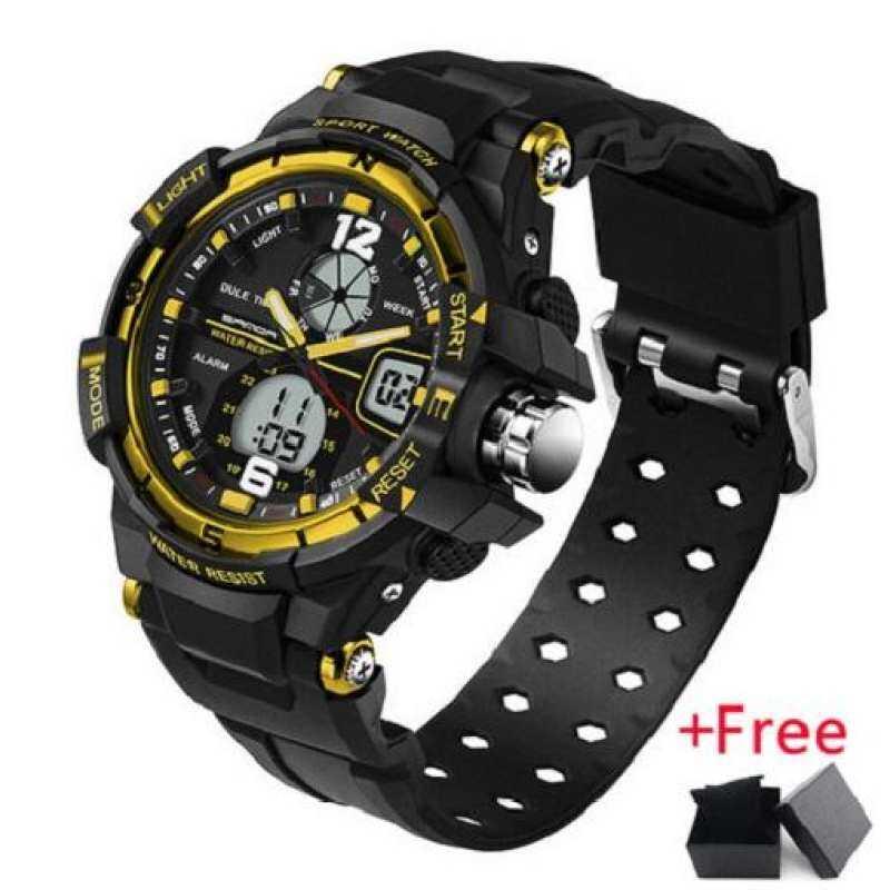 Kmdshxns Sanda Fashion LED Digital Tampilan Tanggal Jam Tangan Alarm Stopwatch Tahan Air Olahraga Jam Tangan