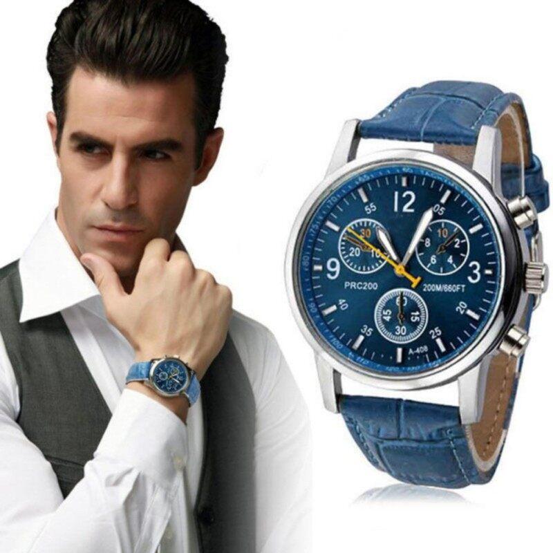 Sanwood® Fashion Mens Faux Leather Sport Watch Arabic Numerals Marker Quartz Wrist Watch (Blue) Malaysia