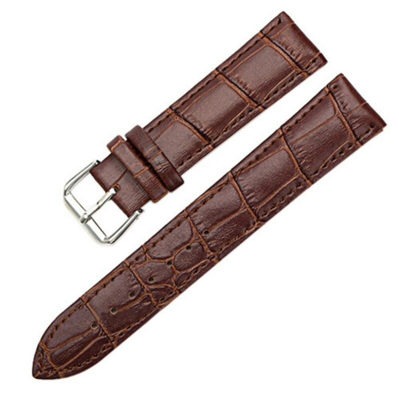 Sanwood® Unisex Faux Leather Watch Strap Buckle Band Black Brown White 18mm (Brown) Malaysia